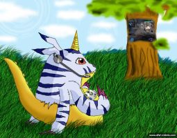 Gabumon on a row by Constrictorz