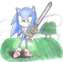Sonic with caliburn by silverfan263