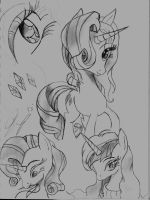 Rarity Belle Sketch by thelunarmoon