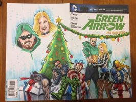 Green Arrow Holiday Sketch Cover Commission FINAL by aldoggartist2004