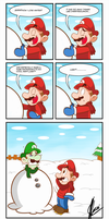 Mario loves winter by MKDrawings