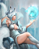 Snow Fox Ahri by Flea-biscuit