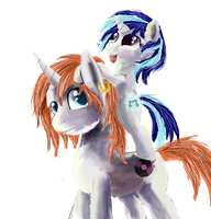 vinyl scratch and her dad or bother IDK by OwlVortex