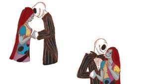 Jack And Sally Disneyland Sketchys by RockenRaccoon