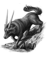 Horned Wolf by Sheblackdragon