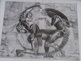 Alien vs Predator drawing by MGuerrero82