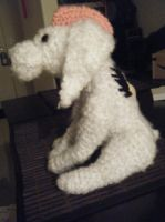Large White Cockapoo Plush Pink Mohawk Request by ChibiSayuriEtsy