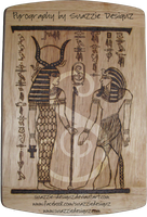 Egyptian  Pyrograph (Woodburning) Side 1 - Outline by snazzie-designz