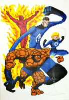 Fantastic Four Perler Beads by thewiredslain