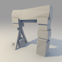 Low poly Broken Stone Gate (WIP) by lithium-sound