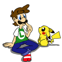 Luigi and Pikachu by MariobrosYaoiFan12