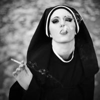 Nun with cigarette by maille91