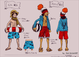 Luffy And Usopp Colored Sketch by iKarl