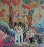 Forest wolves by BecciES