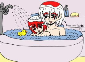 Shindei and his son Faer taking a bath together by hush-janiz15