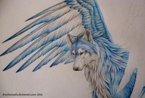 Wolf with wings WIP by Drachenseele