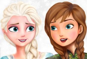 Elsa and Anna by bloodlust-katana