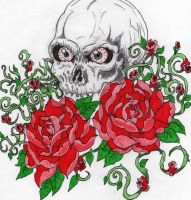 Skull with two roses by guitargold