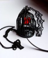 Black bird cage pendant by Pinkabsinthe