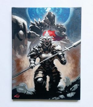 Smaugh and Ornstein - Dark Souls stencil on canvas by prometteu