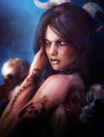 Gothic Vampire Woman Fantasy Art by shibashake