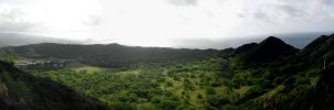 Panorama Atop Diamondhead, Hawaii by AuraShimaku