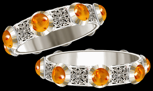Aletheia Silver Bangles with Amber by LilipilySpirit