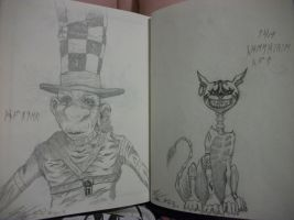 Hatter and The Cheshire Cat by HoraDragonChild