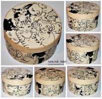 Pack of kitties wooden box by ElaRaczyk