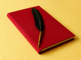 Handmade Bound Red Journal - Crimson Whirls by GatzBcn