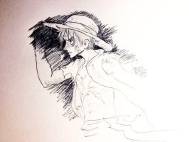 Luffy B-day sketch by Zinfer