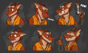 Commission: Darren Scaler's Expression Sheet by Temiree