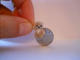 OOAK micro miniature jointed fluff white grey bear by tweebears
