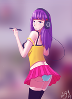 A Girl Drawing with Headphone by RenZeyu