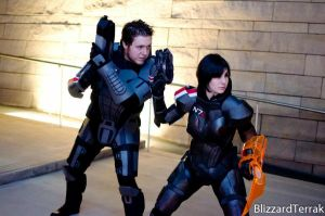 Male and Female Shepard Cosplay by Xemnass