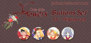 Order of The Flowers Buttons by JadineR