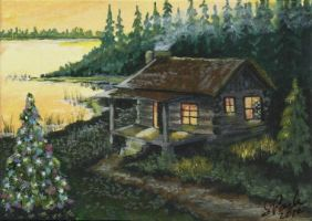 ACEO Christmas at the Cabin by annieoakley64