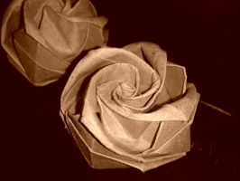 Origami Roses by SnowflakeValley