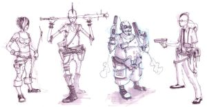 cyber punk character sketches by coolkatcasey