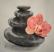 Orchid on Stones by ArtGoldArt