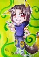 Collab ACEO: #8-9 Chibi Umbreon-Itachi by Chillovery