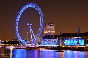 London Eye at night by LoveSexAndDrugs