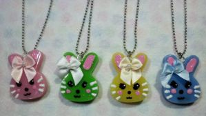 Resin Bunny Necklaces by TashaAkaTachi