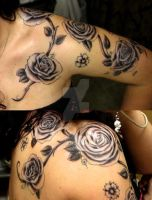 Roses and cherry blossoms tattoo by Kiwi-chu