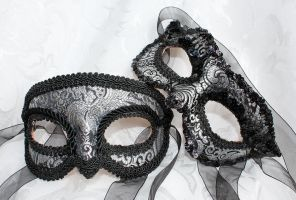 Couples Silver Black Brocade and Leather Masks by DaraGallery