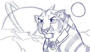 Tigress in Space WIP by kohu-scribbles