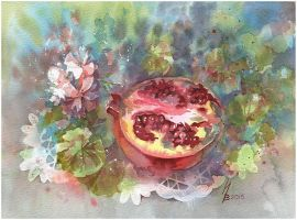 Pomegranate and geranium by kosharik69