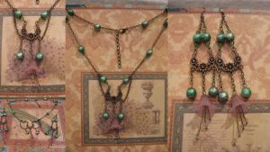 Faerie's Garden Steampunk necklace and earring set by assassin-kitty