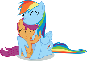 Rainbow Dash and Scootaloo hug by exe2001