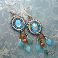 Bronze Blue Cabochon Earrings by Beadmask